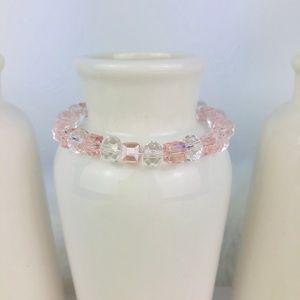 Womens Crystal Glass Pink Beaded Bracelet-891